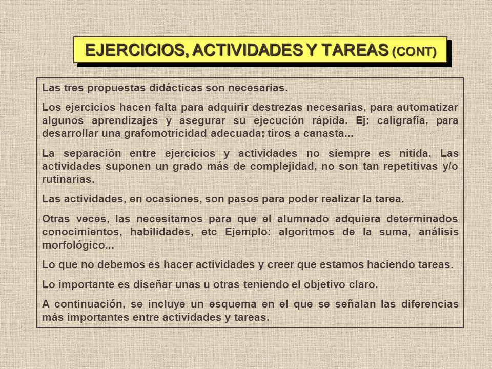 EJERCICIOS, ACTIVIDADES Y TAREAS (CONT)