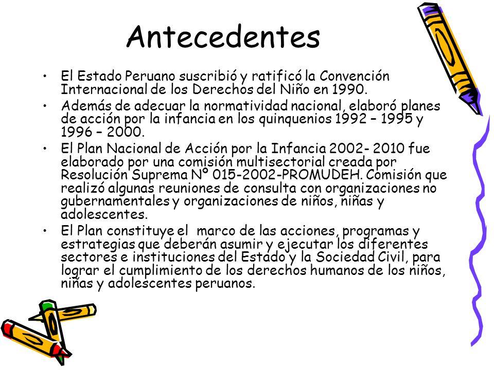 AntecedentesEl Estado Peruano suscribió y ratificó la Convención Internacional de los Derechos del Niño en 1990.