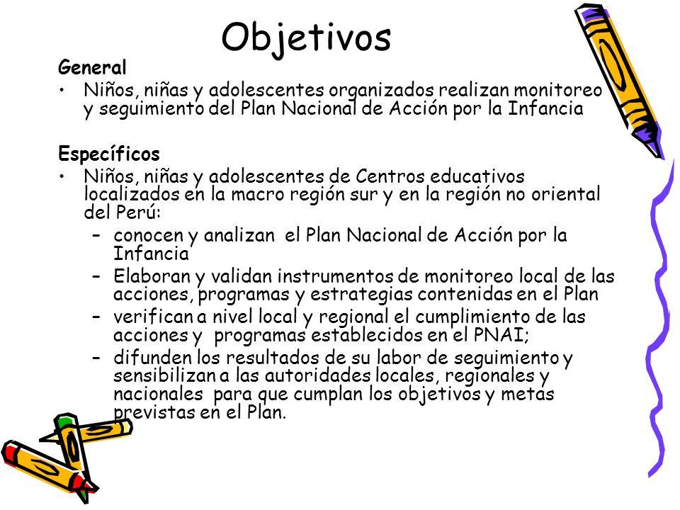 Objetivos General. Niños, niñas y adolescentes organizados realizan monitoreo y seguimiento del Plan Nacional de Acción por la Infancia.