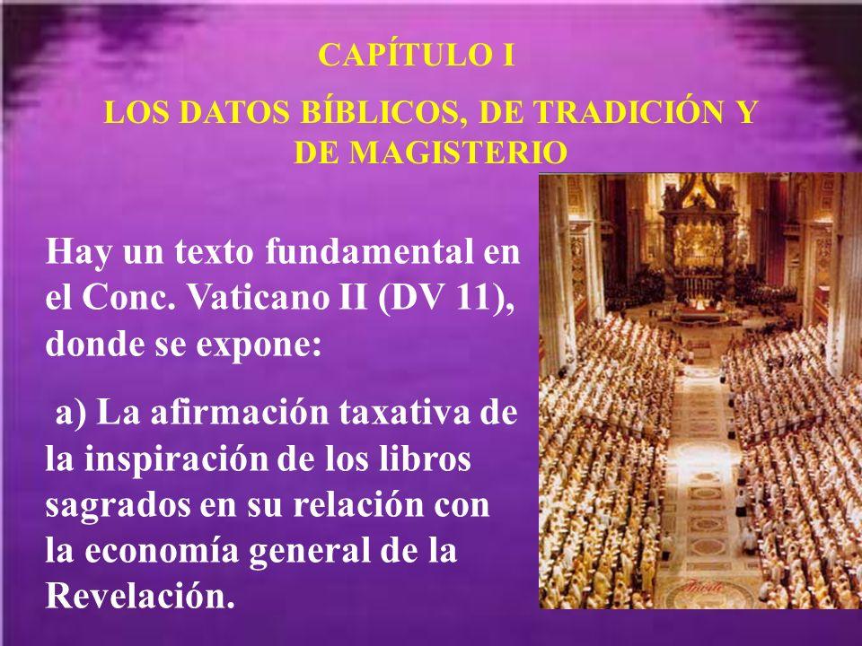 LOS DATOS BÍBLICOS, DE TRADICIÓN Y DE MAGISTERIO