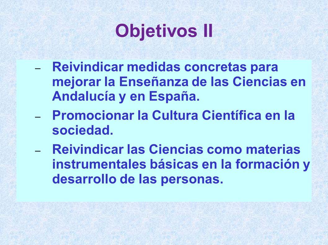 Objetivos II Reivindicar medidas concretas para mejorar la Enseñanza de las Ciencias en Andalucía y en España.