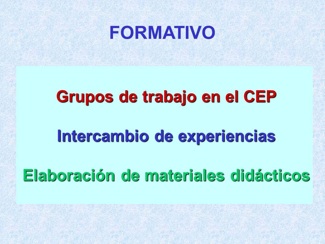 FORMATIVO Grupos de trabajo en el CEP Intercambio de experiencias