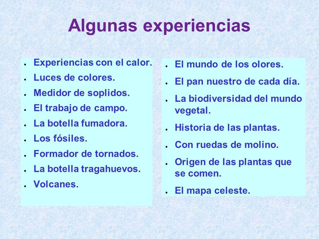 Algunas experiencias Experiencias con el calor. Luces de colores.