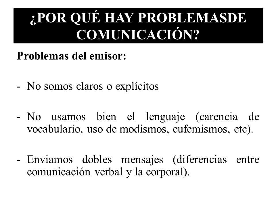 ¿POR QUÉ HAY PROBLEMASDE COMUNICACIÓN