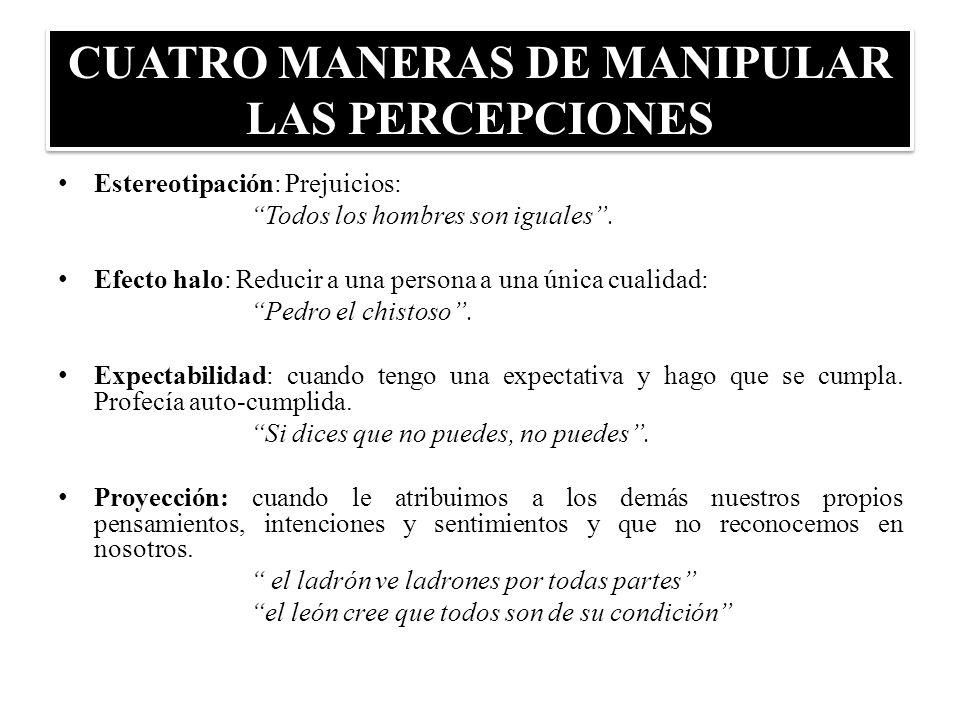 CUATRO MANERAS DE MANIPULAR LAS PERCEPCIONES