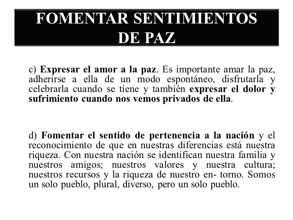 FOMENTAR SENTIMIENTOS DE PAZ