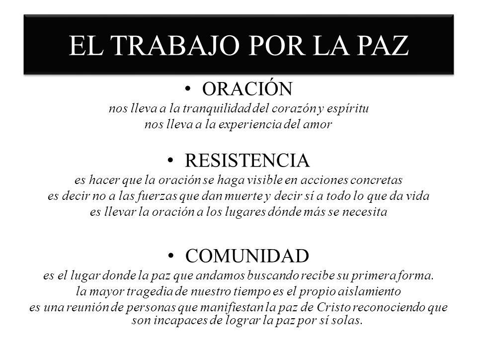 EL TRABAJO POR LA PAZ ORACIÓN RESISTENCIA COMUNIDAD