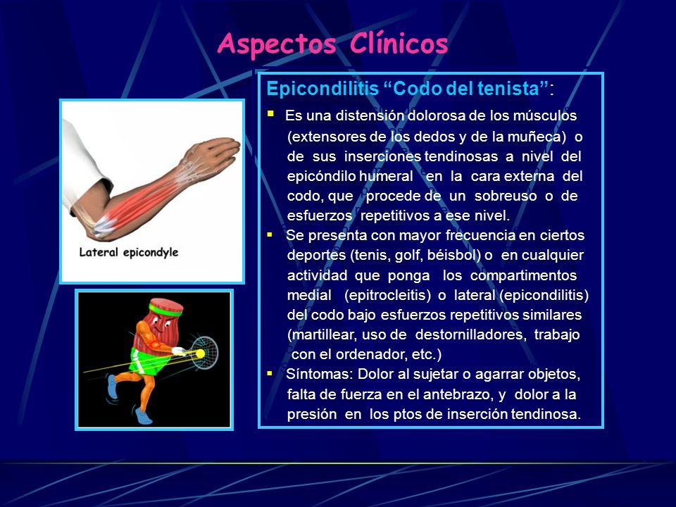 Aspectos Clínicos Epicondilitis Codo del tenista :