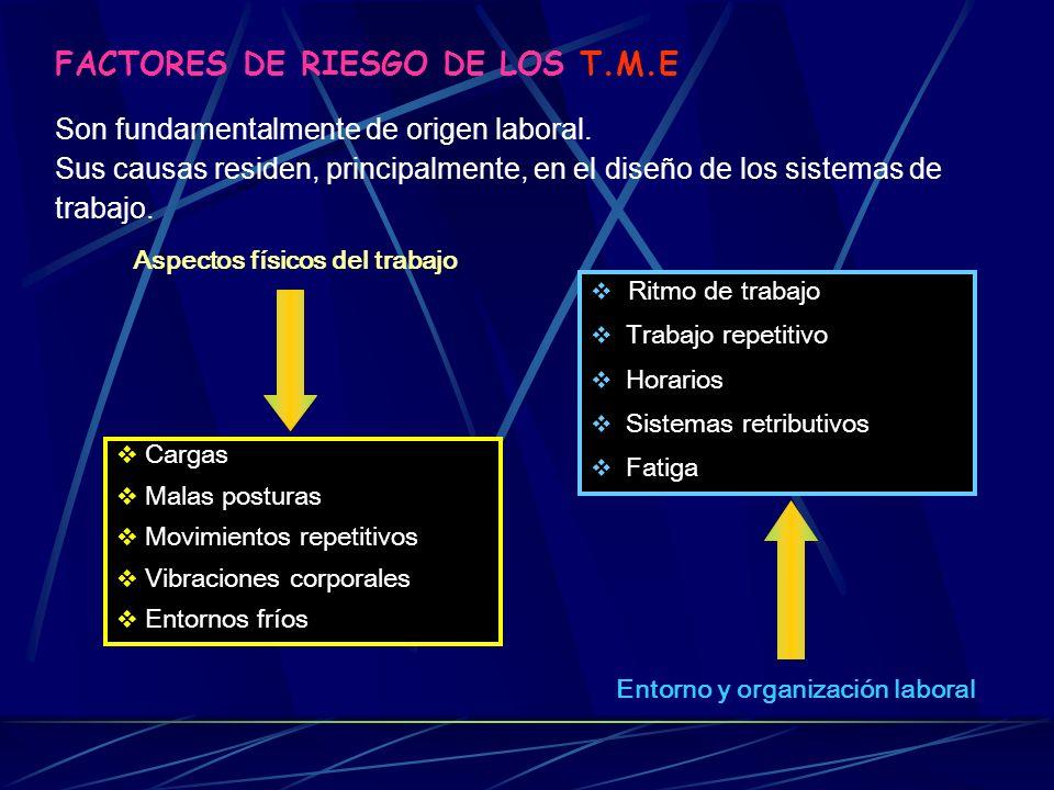 Aspectos físicos del trabajo Entorno y organización laboral