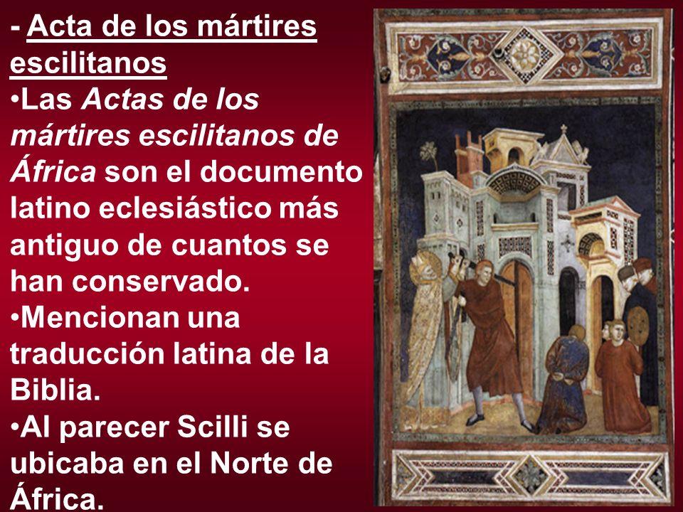 - Acta de los mártires escilitanos