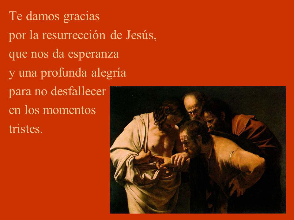 Te damos gracias por la resurrección de Jesús, que nos da esperanza. y una profunda alegría. para no desfallecer.