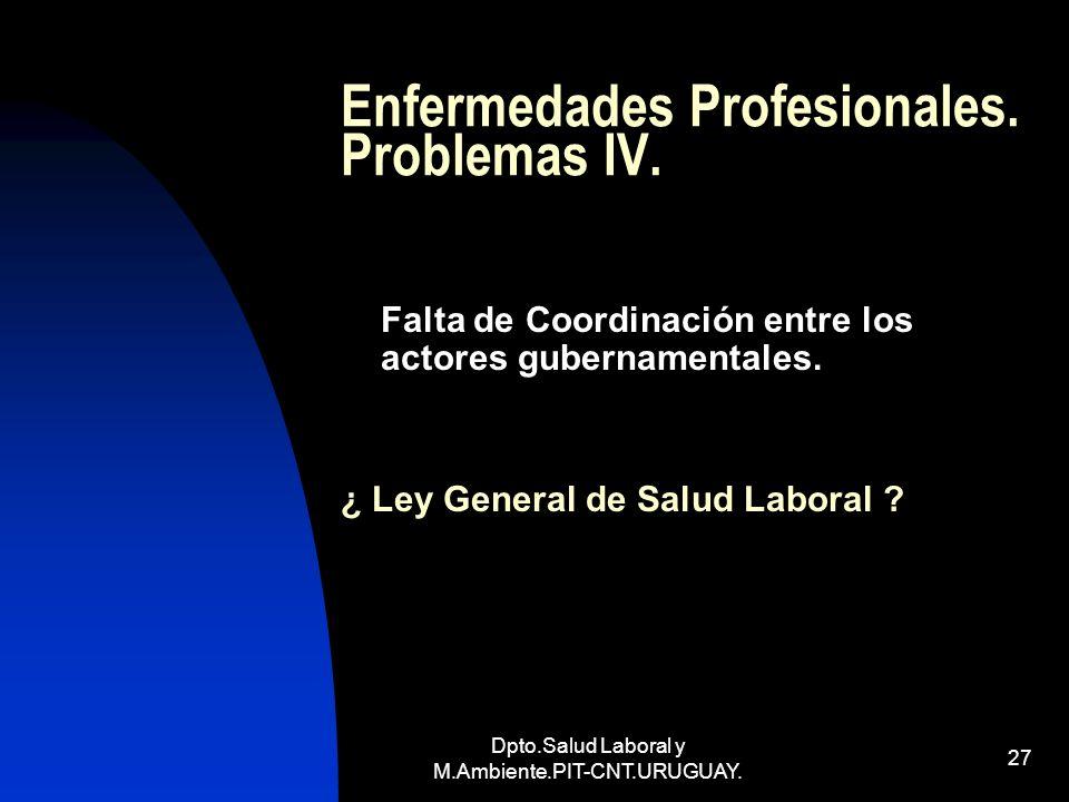 Enfermedades Profesionales. Problemas IV.