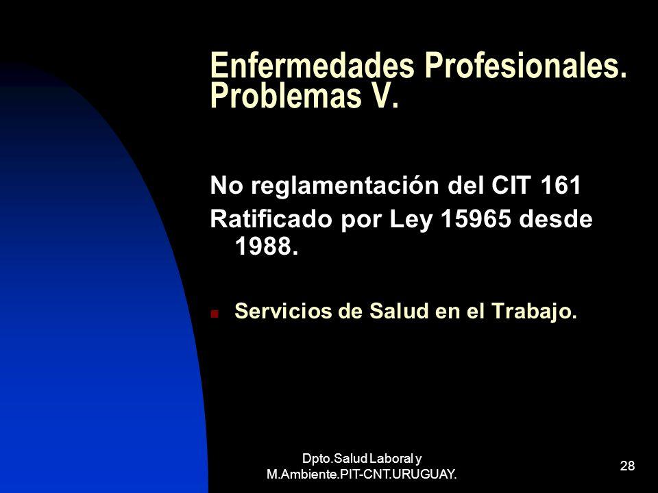 Enfermedades Profesionales. Problemas V.