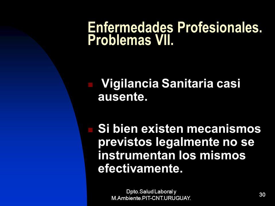 Enfermedades Profesionales. Problemas VII.