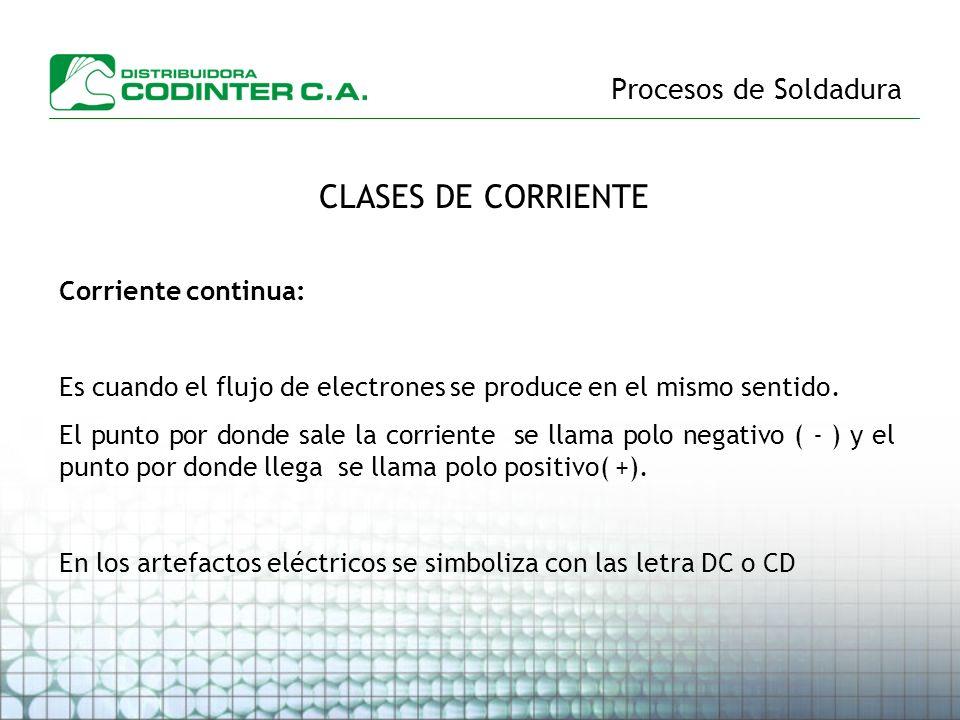 CLASES DE CORRIENTE Procesos de Soldadura Corriente continua: