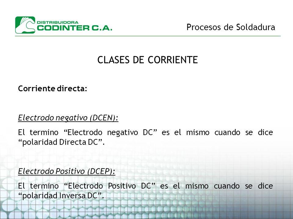 CLASES DE CORRIENTE Procesos de Soldadura Corriente directa: