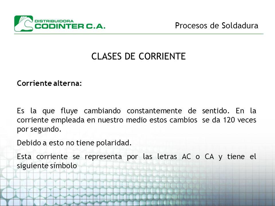 CLASES DE CORRIENTE Procesos de Soldadura Corriente alterna: