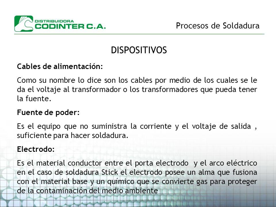DISPOSITIVOS Procesos de Soldadura Cables de alimentación: