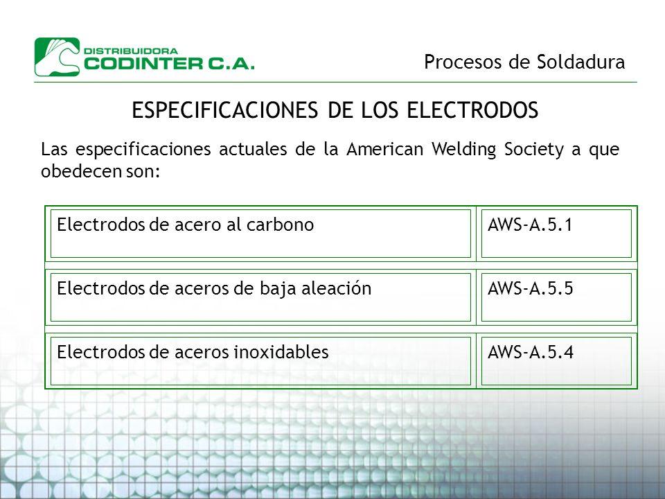 ESPECIFICACIONES DE LOS ELECTRODOS