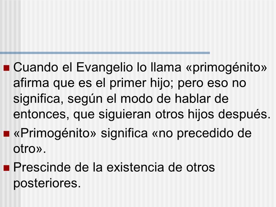 Cuando el Evangelio lo llama «primogénito» afirma que es el primer hijo; pero eso no significa, según el modo de hablar de entonces, que siguieran otros hijos después.
