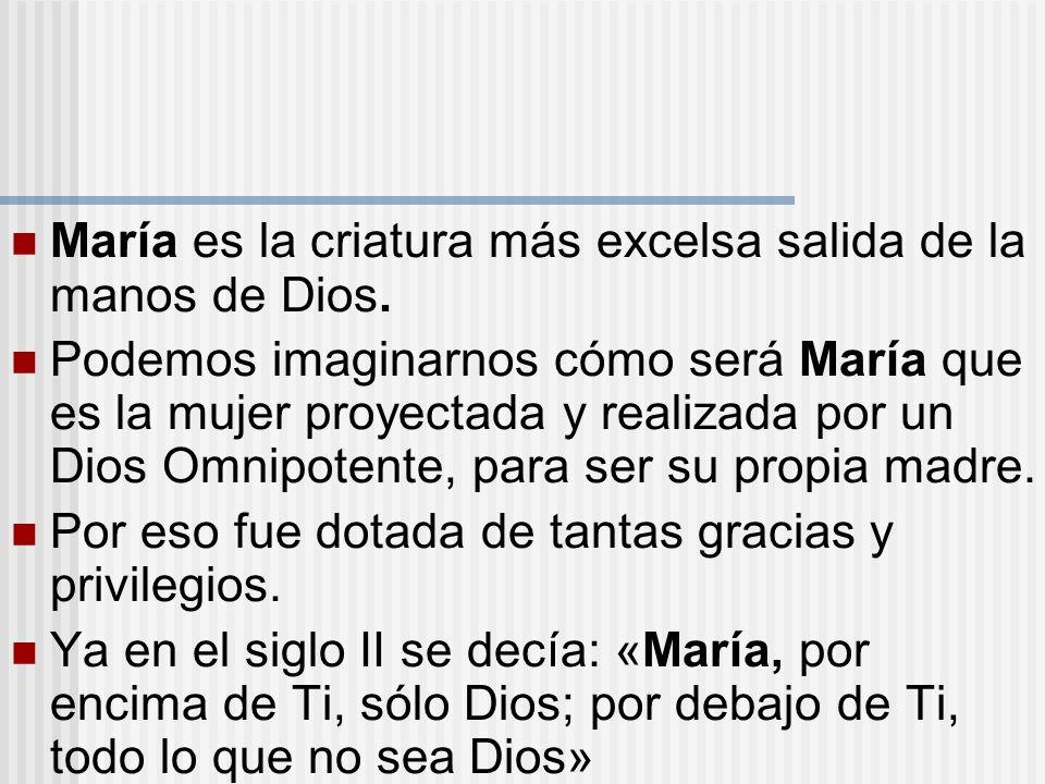 María es la criatura más excelsa salida de la manos de Dios.