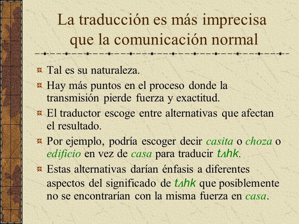 La traducción es más imprecisa que la comunicación normal