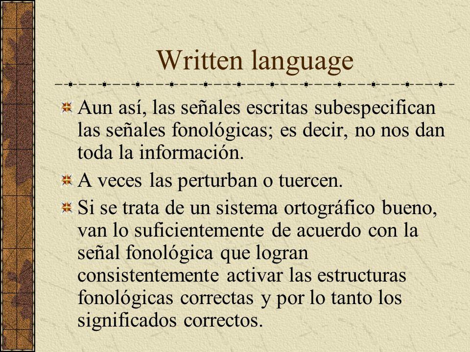 Written language Aun así, las señales escritas subespecifican las señales fonológicas; es decir, no nos dan toda la información.