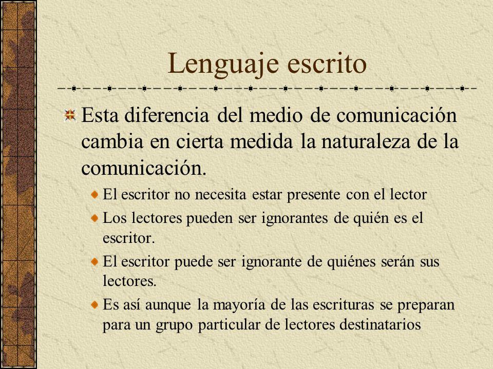 Lenguaje escrito Esta diferencia del medio de comunicación cambia en cierta medida la naturaleza de la comunicación.