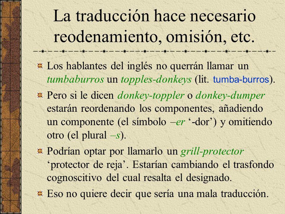 La traducción hace necesario reodenamiento, omisión, etc.