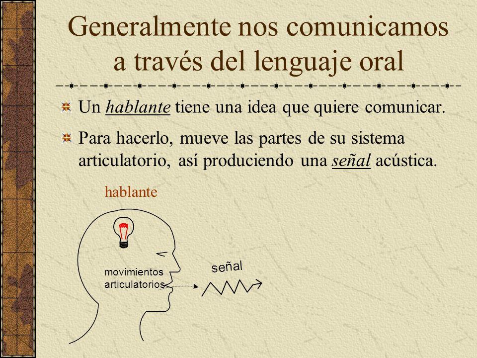 Generalmente nos comunicamos a través del lenguaje oral