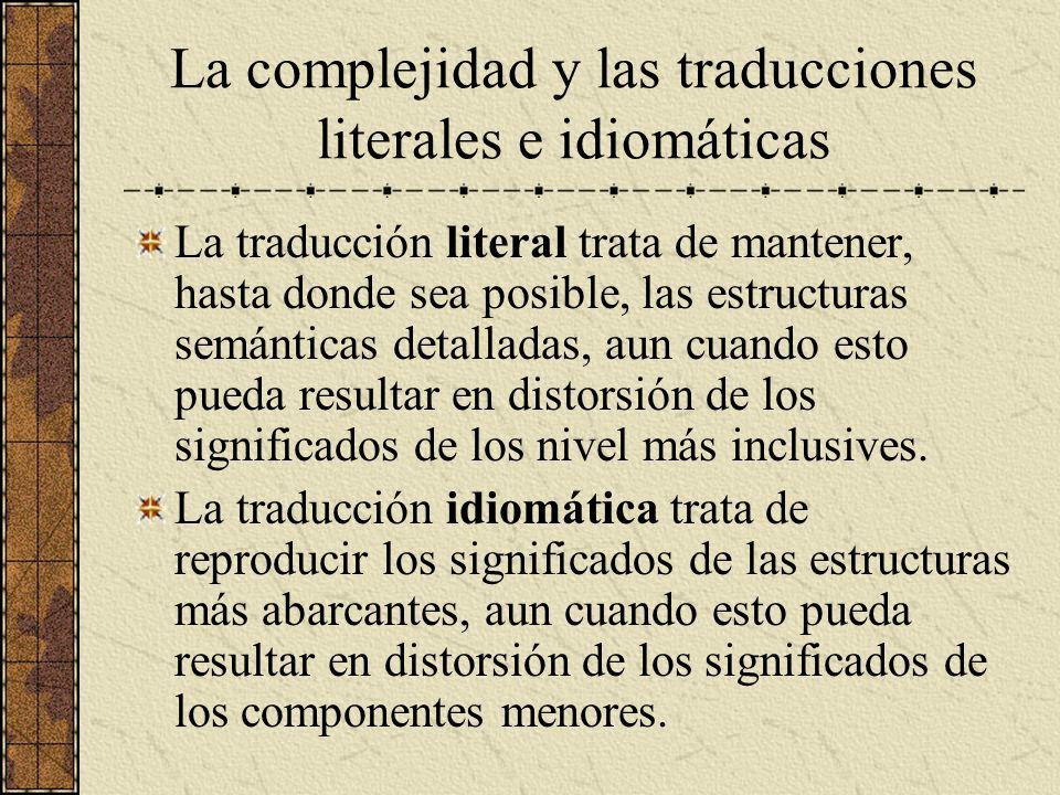 La complejidad y las traducciones literales e idiomáticas