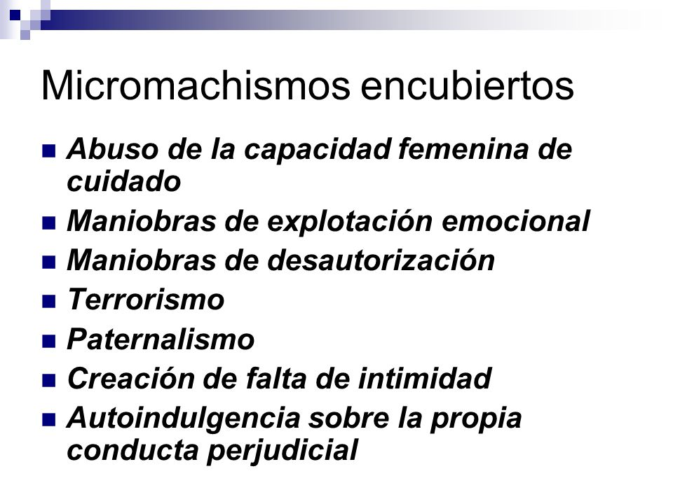 Micromachismos encubiertos