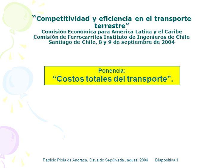 Costos totales del transporte .