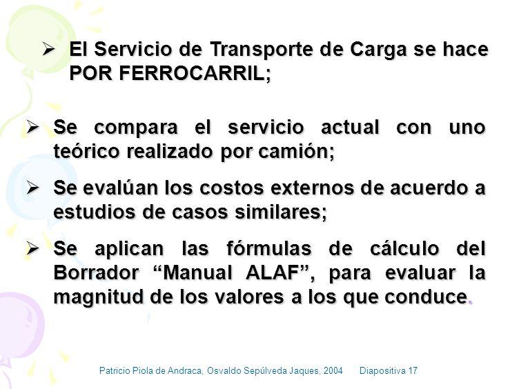 El Servicio de Transporte de Carga se hace POR FERROCARRIL;
