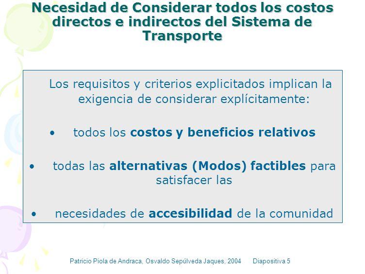 Necesidad de Considerar todos los costos directos e indirectos del Sistema de Transporte