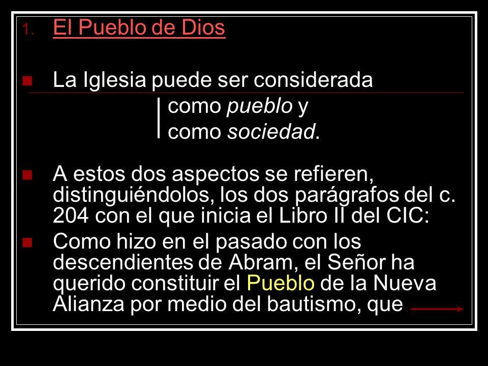 El Pueblo de Dios La Iglesia puede ser considerada. como pueblo y. como sociedad.