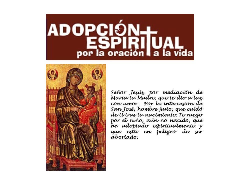 Señor Jesús, por mediación de María tu Madre, que te dio a luz con amor.
