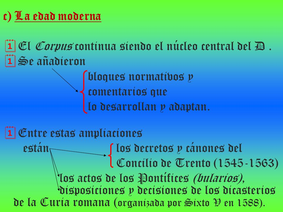 c) La edad moderna El Corpus continua siendo el núcleo central del D . Se añadieron. bloques normativos y.