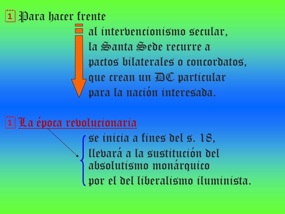 Para hacer frente al intervencionismo secular, la Santa Sede recurre a. pactos bilaterales o concordatos,