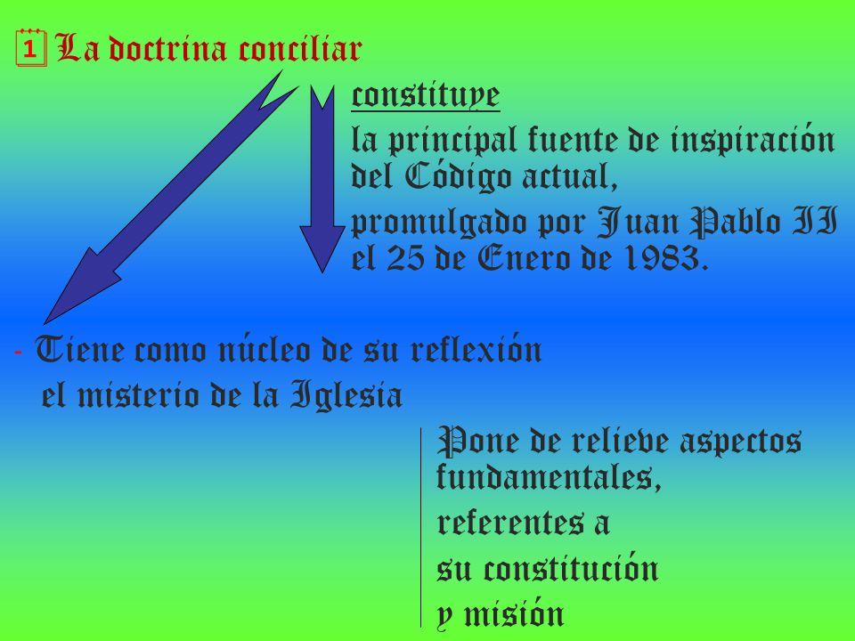 La doctrina conciliar constituye. la principal fuente de inspiración del Código actual,