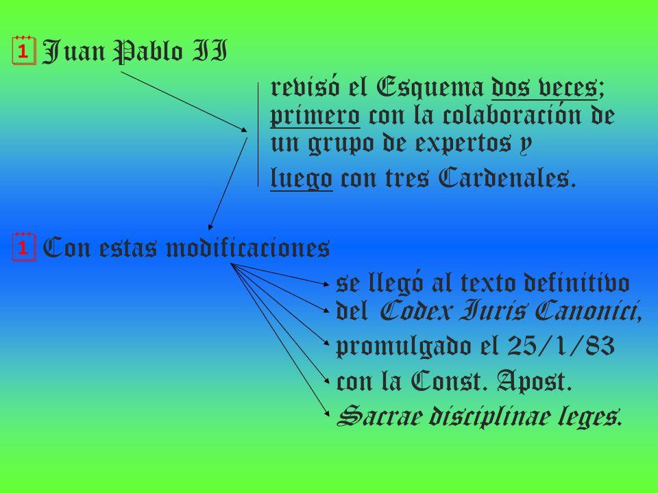Juan Pablo II revisó el Esquema dos veces; primero con la colaboración de un grupo de expertos y.
