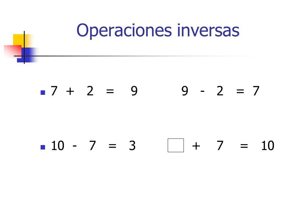 Operaciones inversas 7 + 2 = 9 9 - 2 = 7.