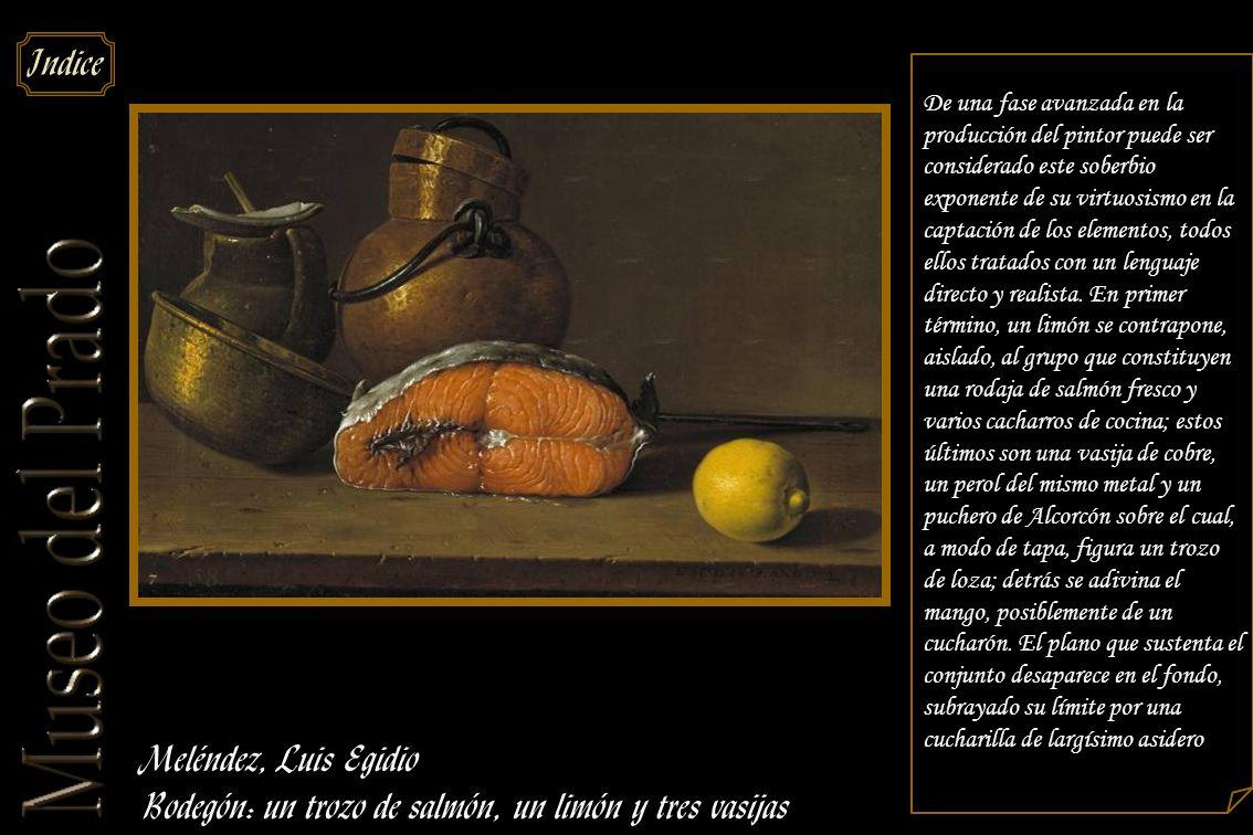 Bodegón: un trozo de salmón, un limón y tres vasijas