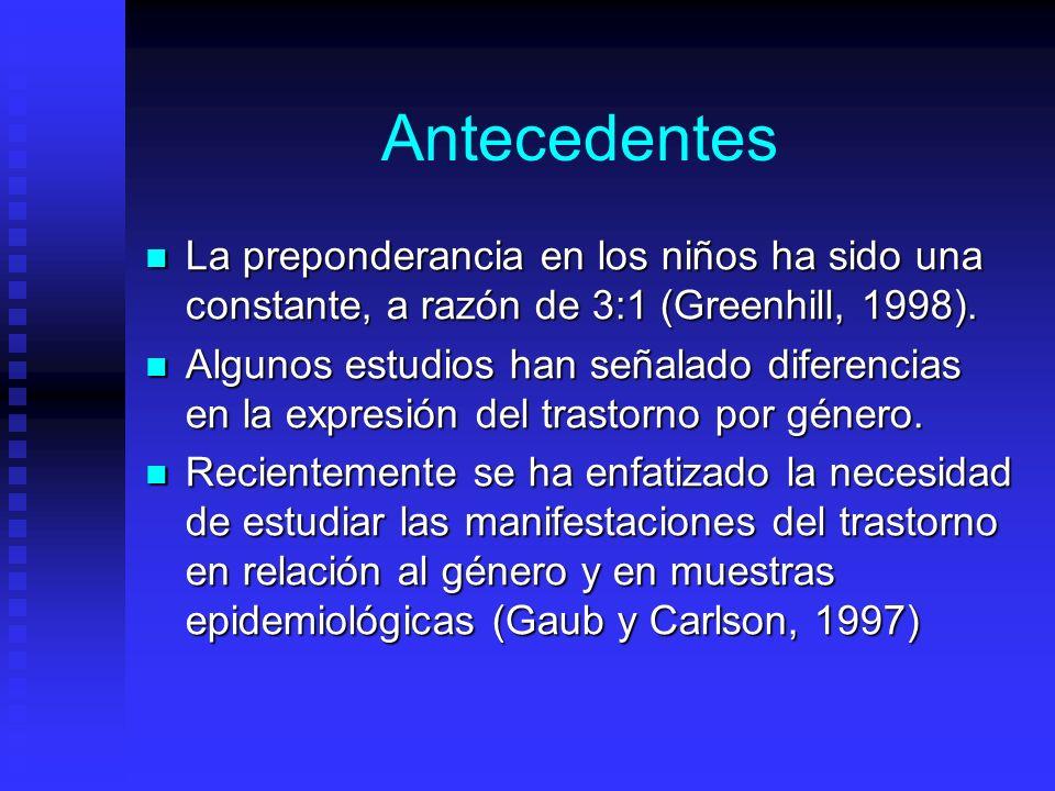 Antecedentes La preponderancia en los niños ha sido una constante, a razón de 3:1 (Greenhill, 1998).
