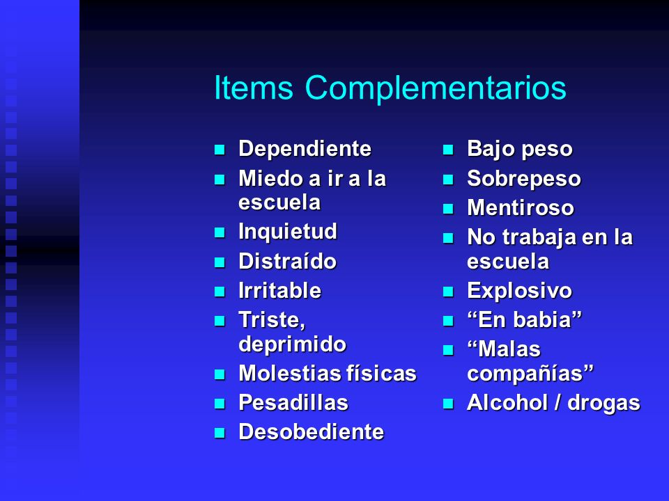 Items Complementarios
