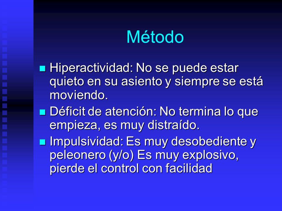 Método Hiperactividad: No se puede estar quieto en su asiento y siempre se está moviendo.
