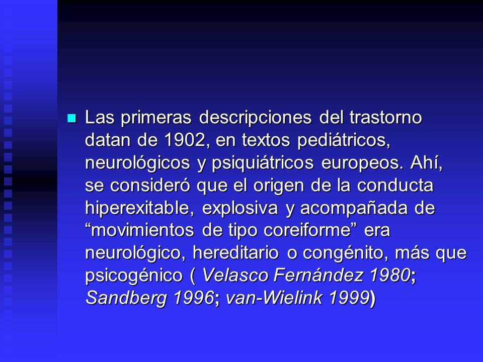 Las primeras descripciones del trastorno datan de 1902, en textos pediátricos, neurológicos y psiquiátricos europeos.