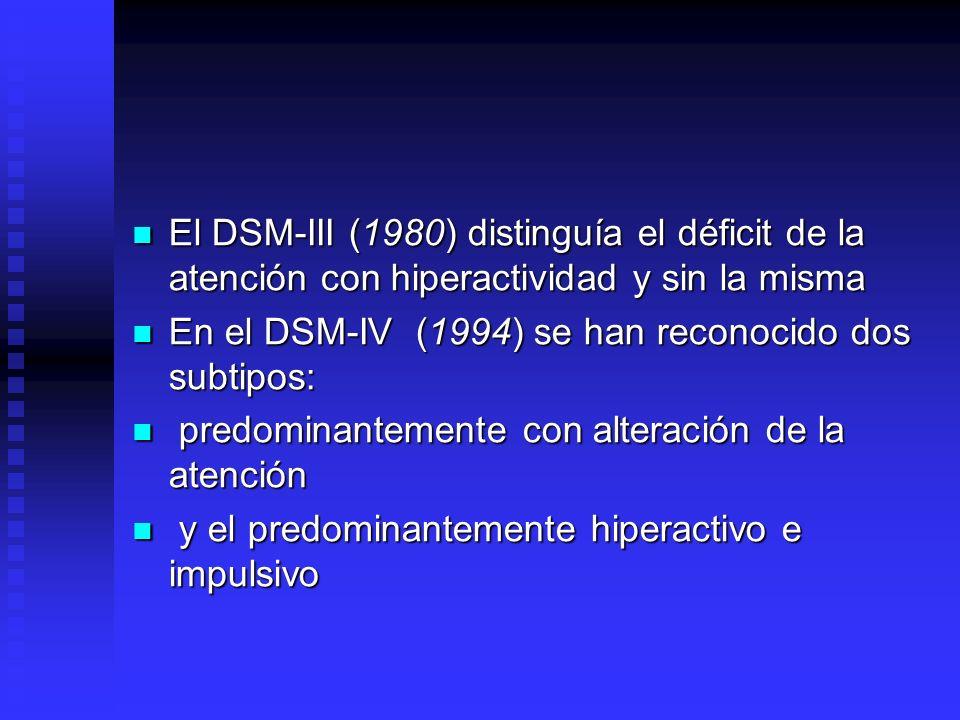 El DSM-III (1980) distinguía el déficit de la atención con hiperactividad y sin la misma
