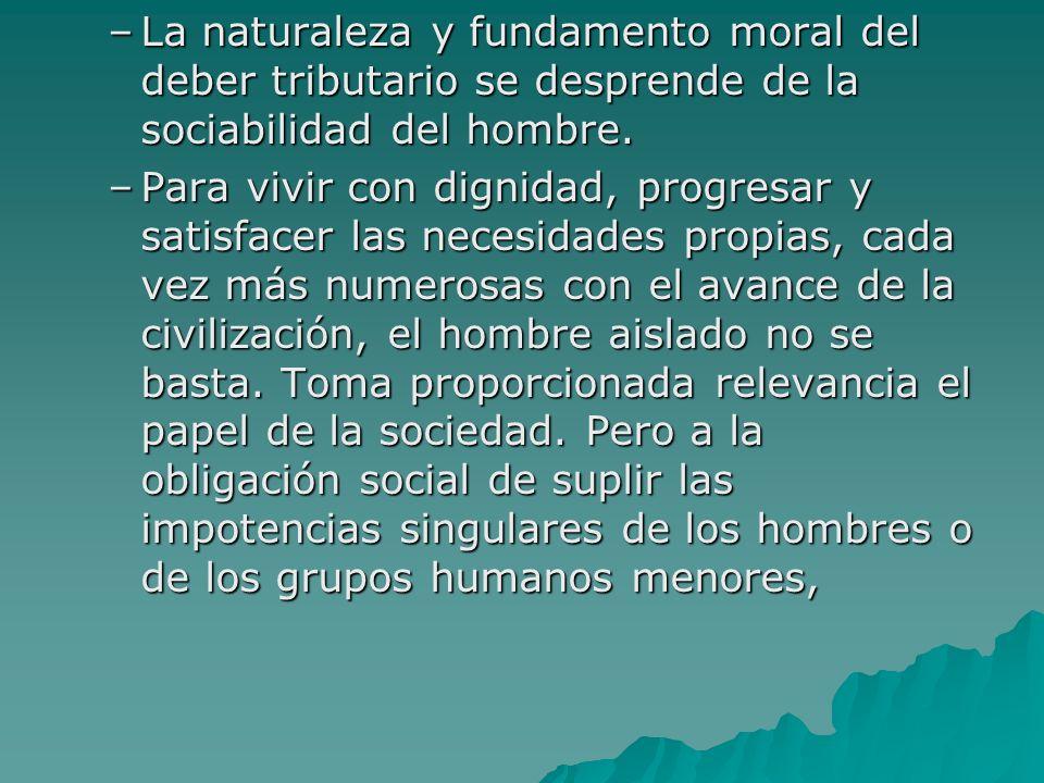 La naturaleza y fundamento moral del deber tributario se desprende de la sociabilidad del hombre.