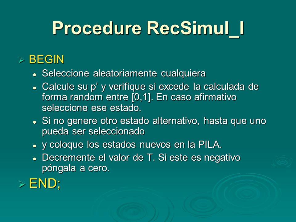 Procedure RecSimul_I END; BEGIN Seleccione aleatoriamente cualquiera